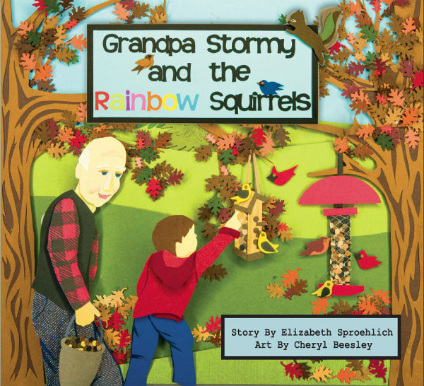 hardcover children's book, Grandpa Stormy, with paper cut illustrations