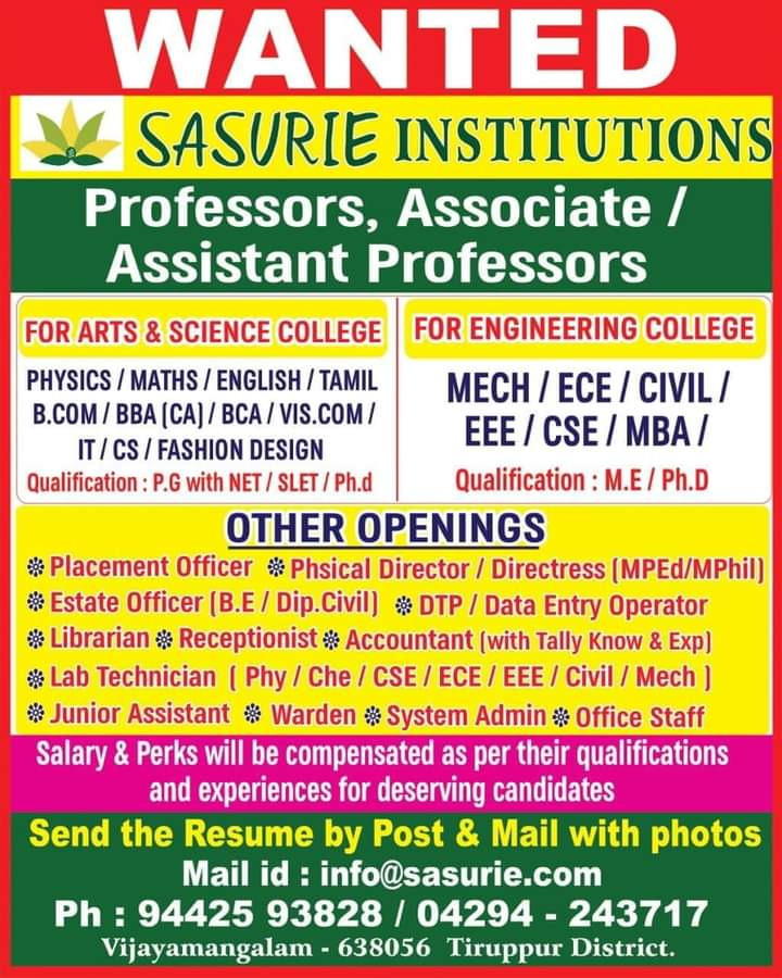 Wanted Teachers,Assistant Prof. JA,..