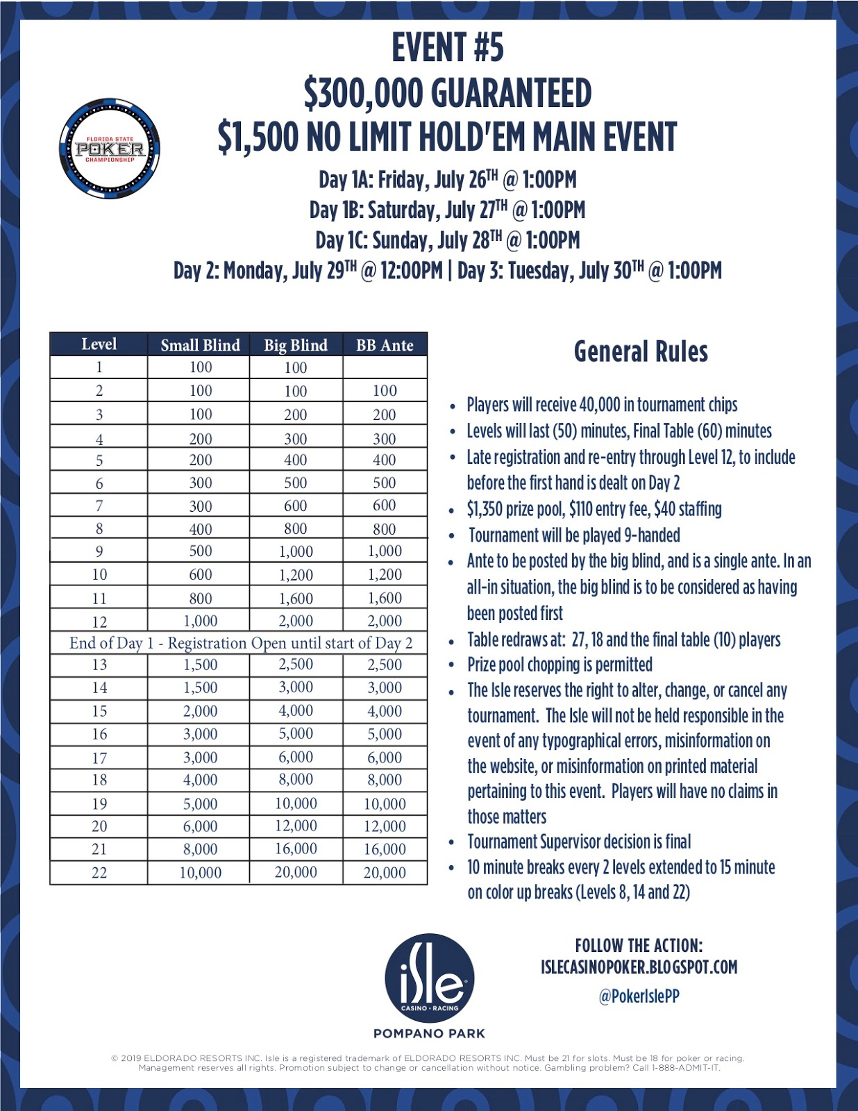 Isle Casino Poker : Saturday, July 27th: One Day In The