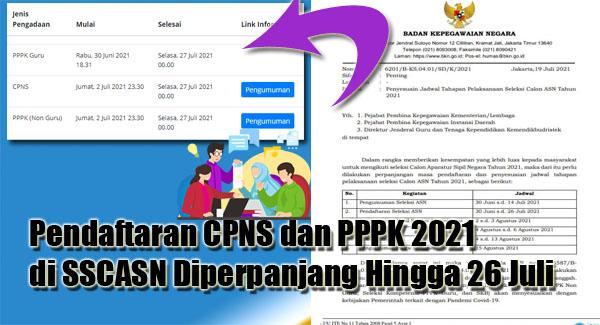 Pendaftaran CPNS dan PPPK 2021 di SSCASN Diperpanjang Hingga 26 Juli
