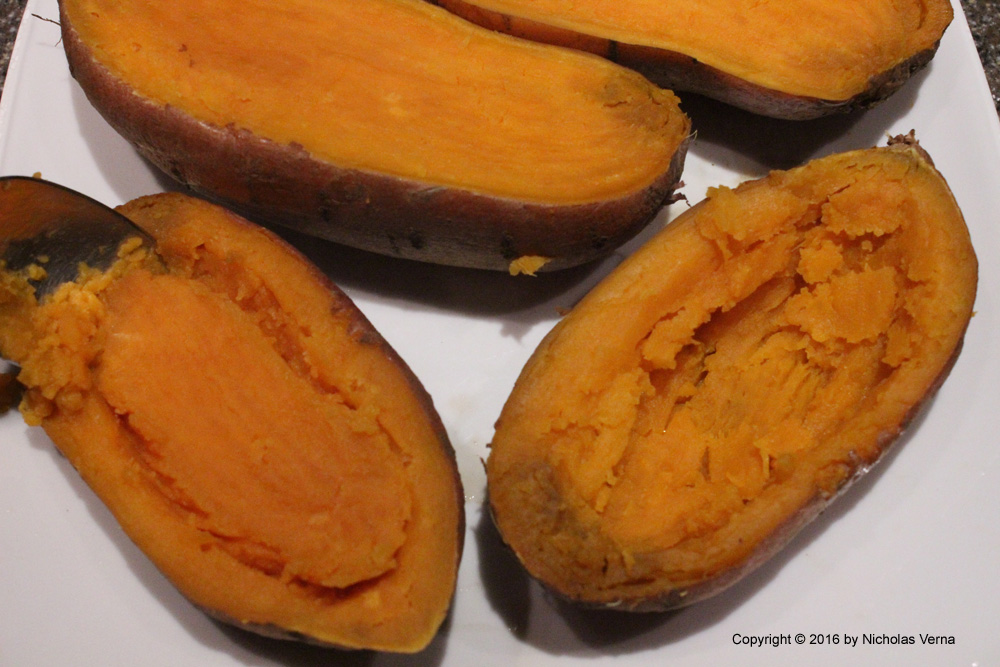 Italian-Fusion: Thrice Cooked Sweet Potato Skins with Buffalo Chicken