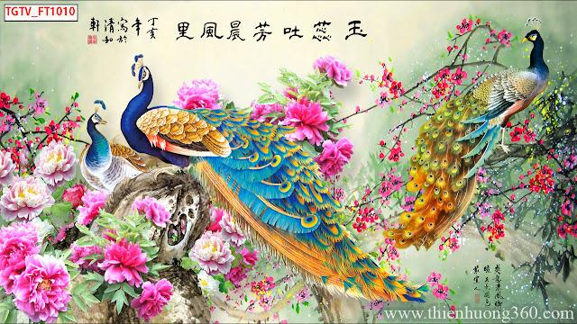 Tranh Chim Công Hoa Mẫu Đơn