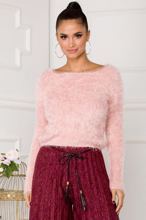 Pulover femei roz pufos de iarna cu guler larg