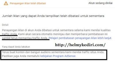 notifikasi terkait pembatasan iklan