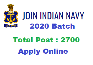 Apply online for 2700 Post Navy SSR / AA August 2020 Batch, Notification, Syllabus, Last date selfstudymantra