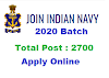 Apply online for 2700 Post Navy SSR / AA August 2020 Batch, Notification, Syllabus, Last date