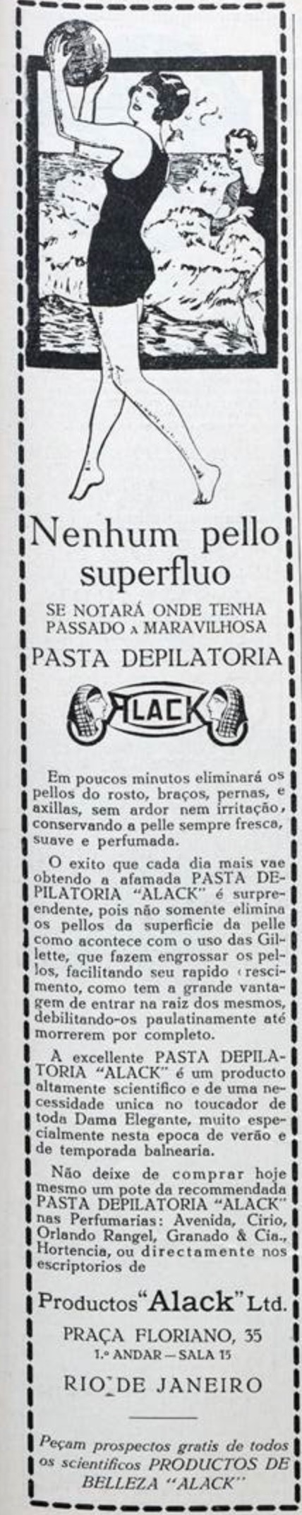 Propaganda antiga do creme depilatório Alack veiculada em 1929