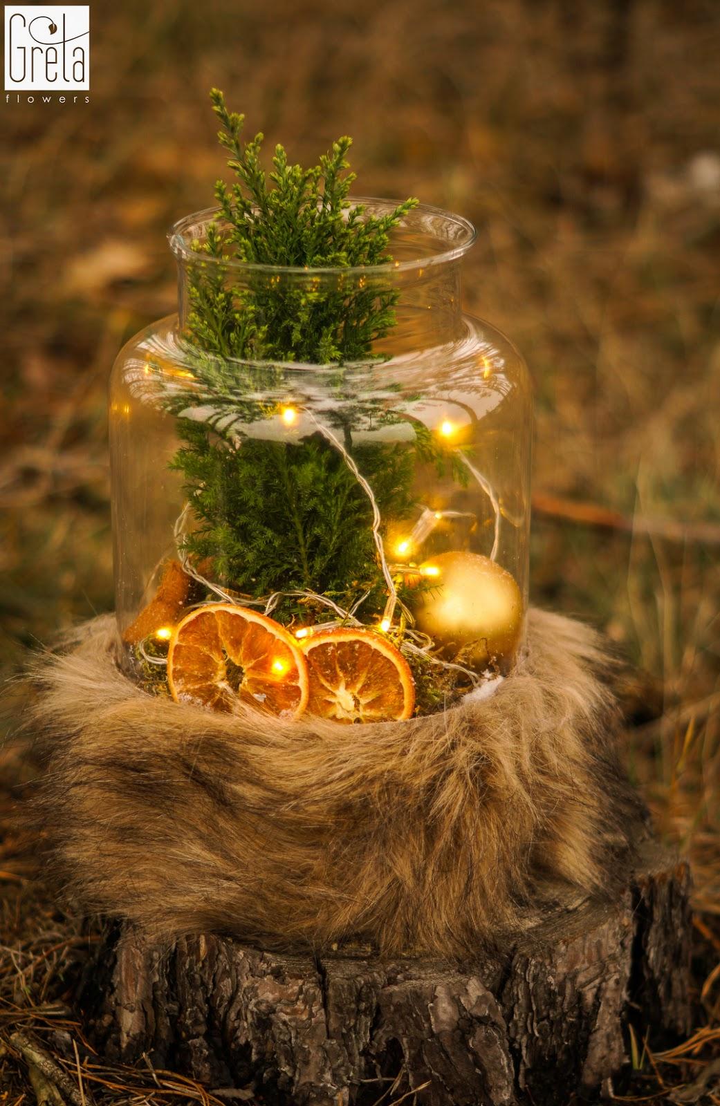 Świąteczny las w słoiku, czyli oryginalne dekoracje i pomysł na prezent, kwiaciarnia Gretaflowers