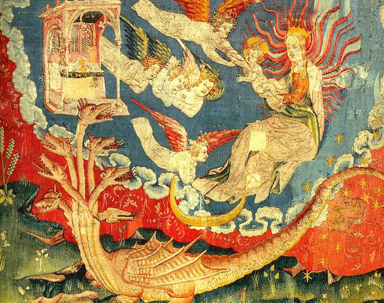 A mulher (Nossa Senhora) foge da bestia que quer lhe arrancar o Filho dos braços. Tapeçaria do Apocalipse, Angers