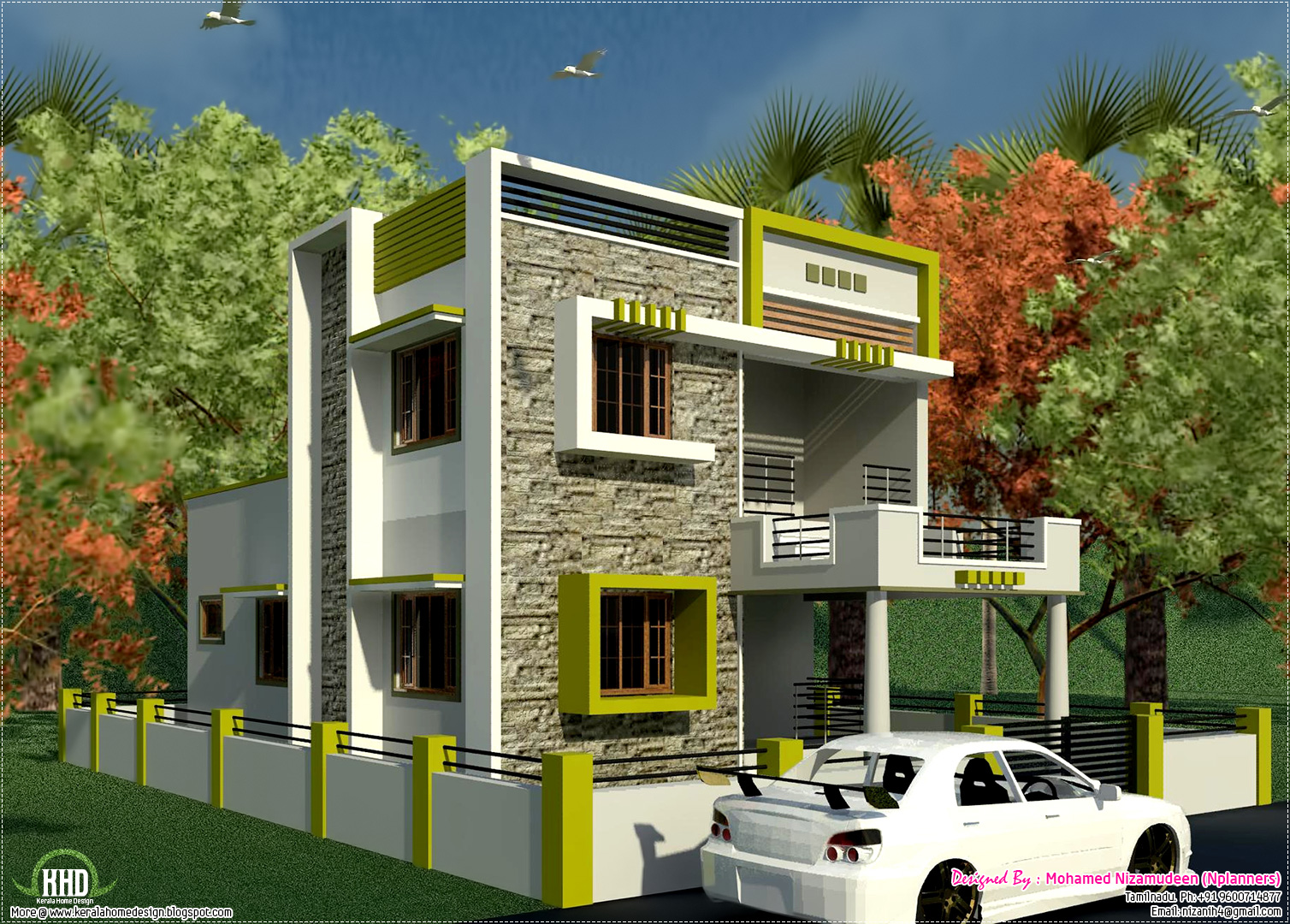 South indian style new modern 1460 sq feet house design for Home outer colour design