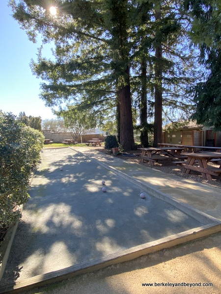 picnic tables and bocce ball court at Chateau St. Jean Vineyards and Winery in Kenwood, California