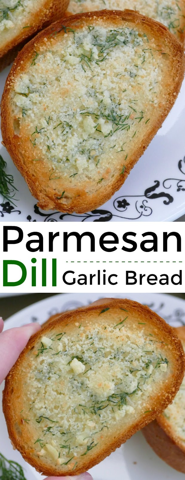 This delicious garlic bread is such a great addition to any meal. The grated parmesan cheese and fresh dill adds a unique pop of flavor to the buttery french bread slices! Easy and ready in less than 15 minutes!