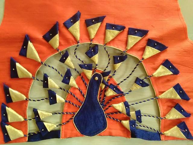 Designer Peacock Blouse Cutting & Stitching