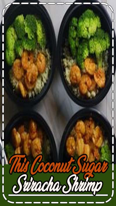 This Coconut Sugar Sriracha Shrimp Meal Prep recipe is fast, easy and incredibly delicious! It is the perfect balance of sweet and spicy to satisfy your taste buds! Made in less than 10 minutes, this Paleo friendly, gluten-free meal prep recipe will leave you plenty of time to still enjoy your weekend. #shrimp #dinner #mealprep #paleo