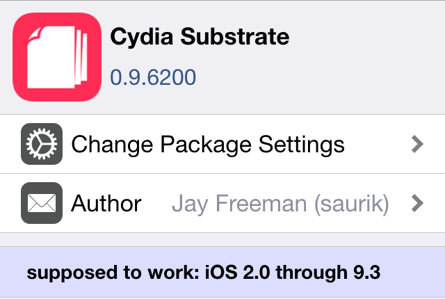 It's important to update Cydia Substrate right now to prevent package and tweaks installation issues if you are already jailbroken your device running iOS 9.2-9.3.3,