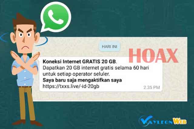 Gratis paket internet 20GB di whatsapp itu HOAX