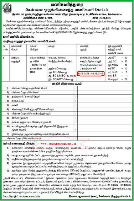 Applications are invited for 78 Record Clark Vacancy in Commercial Tax Department Chennai WWW.TNGOVERNMENTJOBS.IN
