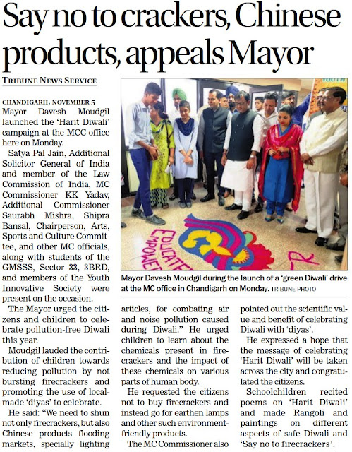 Mayor Davesh Moudgil during the launch of a 'Green Diwali' drive at the MC Office in Chandigarh on Monday