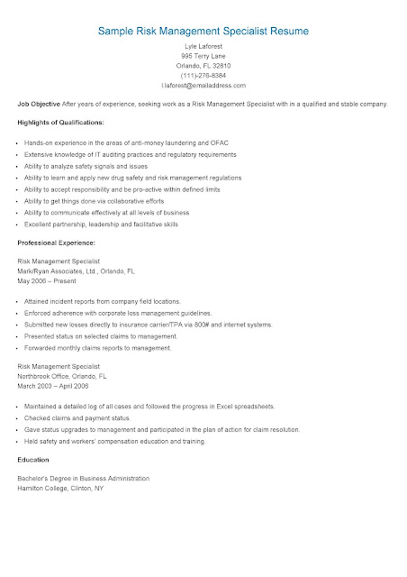 resume samples  sample risk management specialist resume