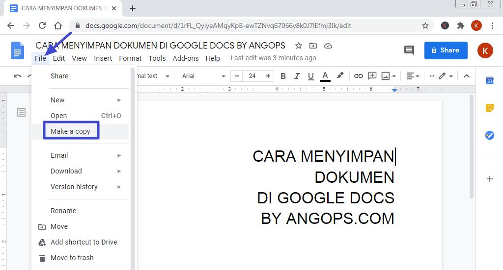 cara menyimpan dokumen dari google docs