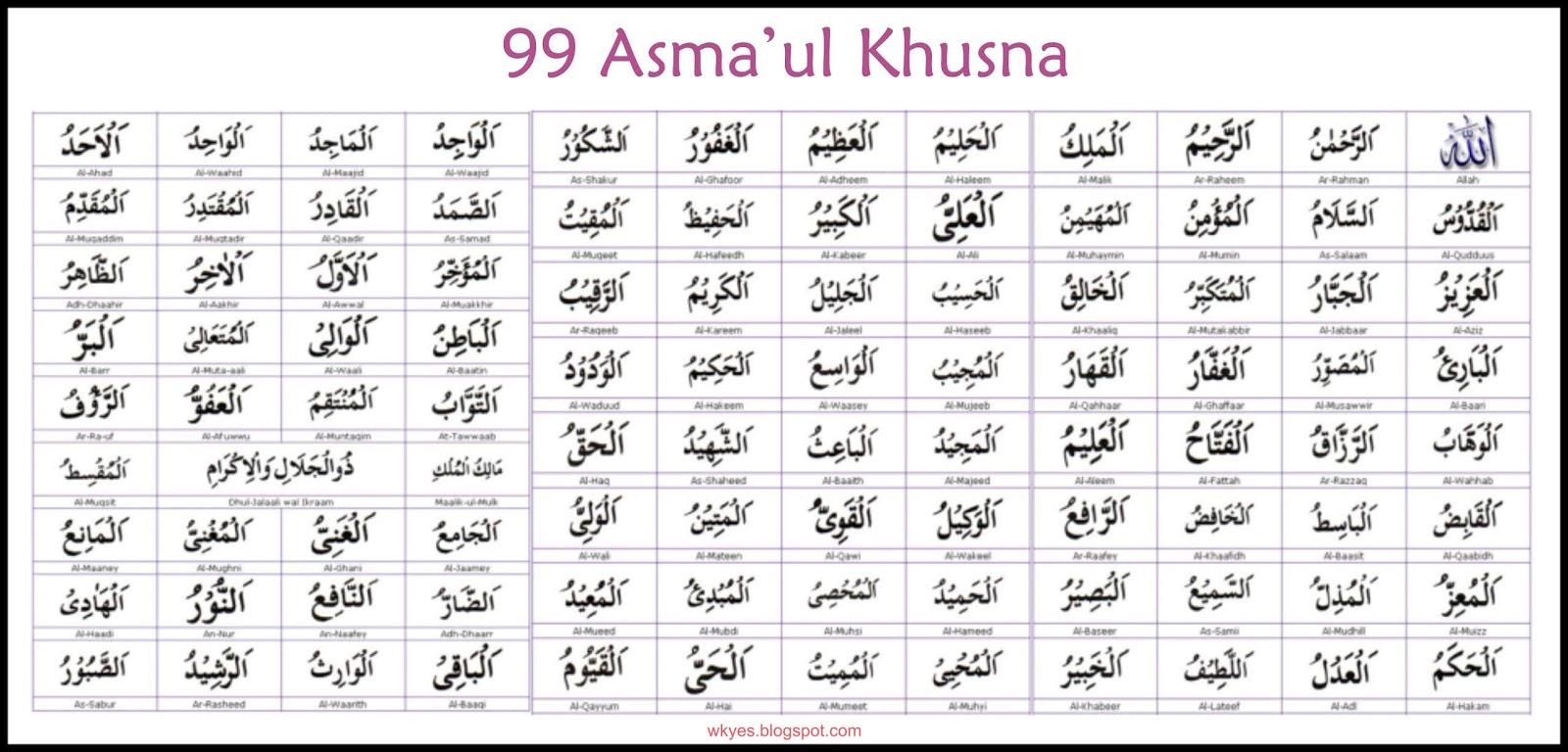 Tulisan iArab Asmaul Husnai Lengkap Beserta Harakatnya Wkyes