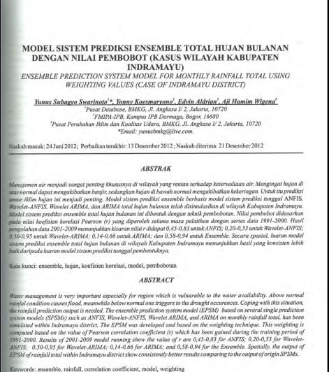 Model Sistem Prediksi Ensemble Total Hujan Bulanan Dengan Nilai Pembobot [PAPER]