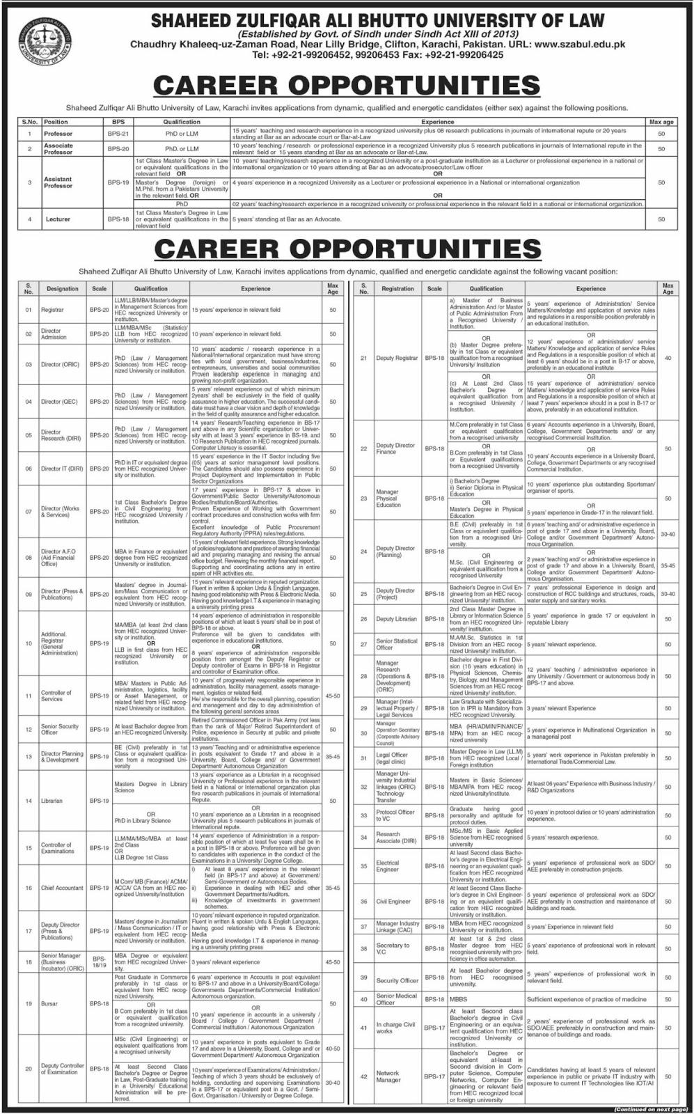 Shaheed Zulfiqar Ali Bhutto University of Law SZABUL Karachi Jobs 2019 Latest