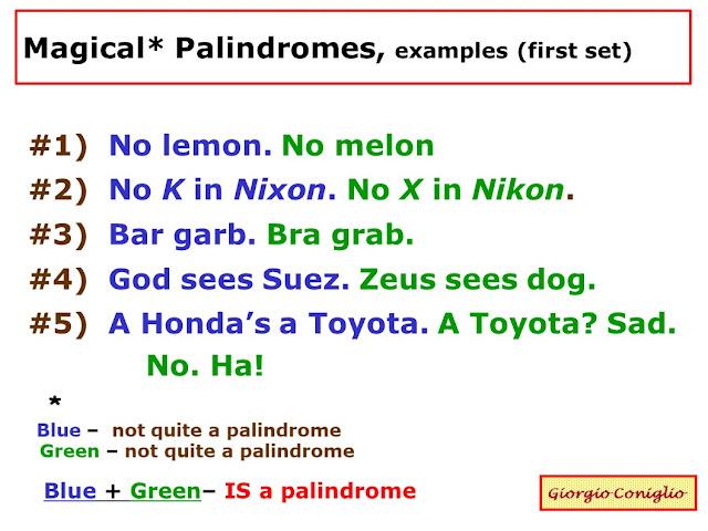 wordplay; palindromes; magic palindromes; Giorgio Coniglio