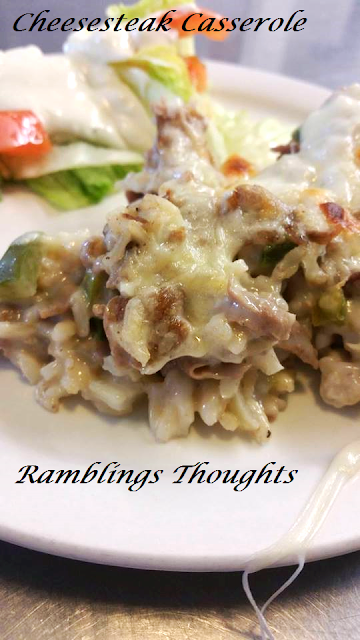Ramblings Thoughts, Recipe, Dinner, Casserole, Steak, Cheese, Tasty Tuesday, Yum,