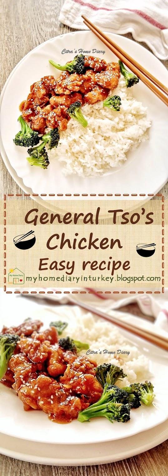 Easy General Tso's Chicken Recipe| Çitra's Home Diary. #chiinesefood #asianfoodrecipe #chickenrecipe #takeaway #homecooking #sweetandsourchicken #generaltsochicken