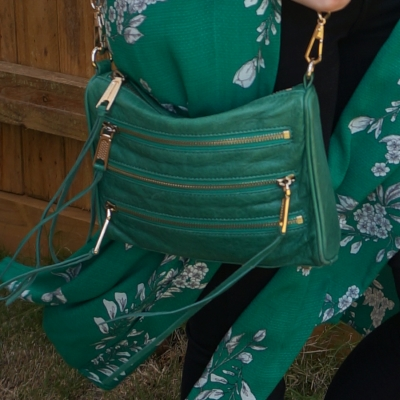Rebecca Minkoff emerald green mini 5-zip rocker bag with floral kimono duster | awayfromtheblue