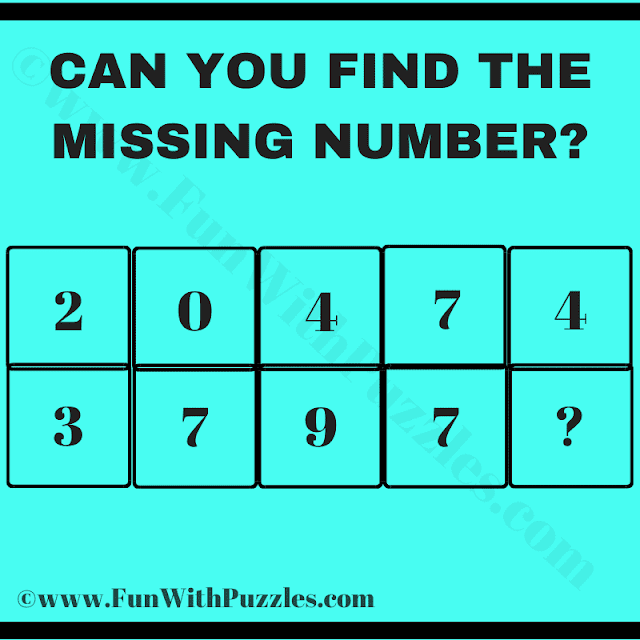 Can you Find the Missing Number? Row 1: 2 0 4 7 4, Row 2: 3 7 9 7 ?