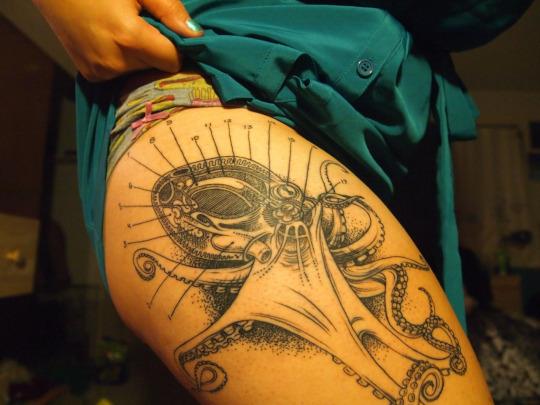 Creative Octopus Tattoo Design For Girls