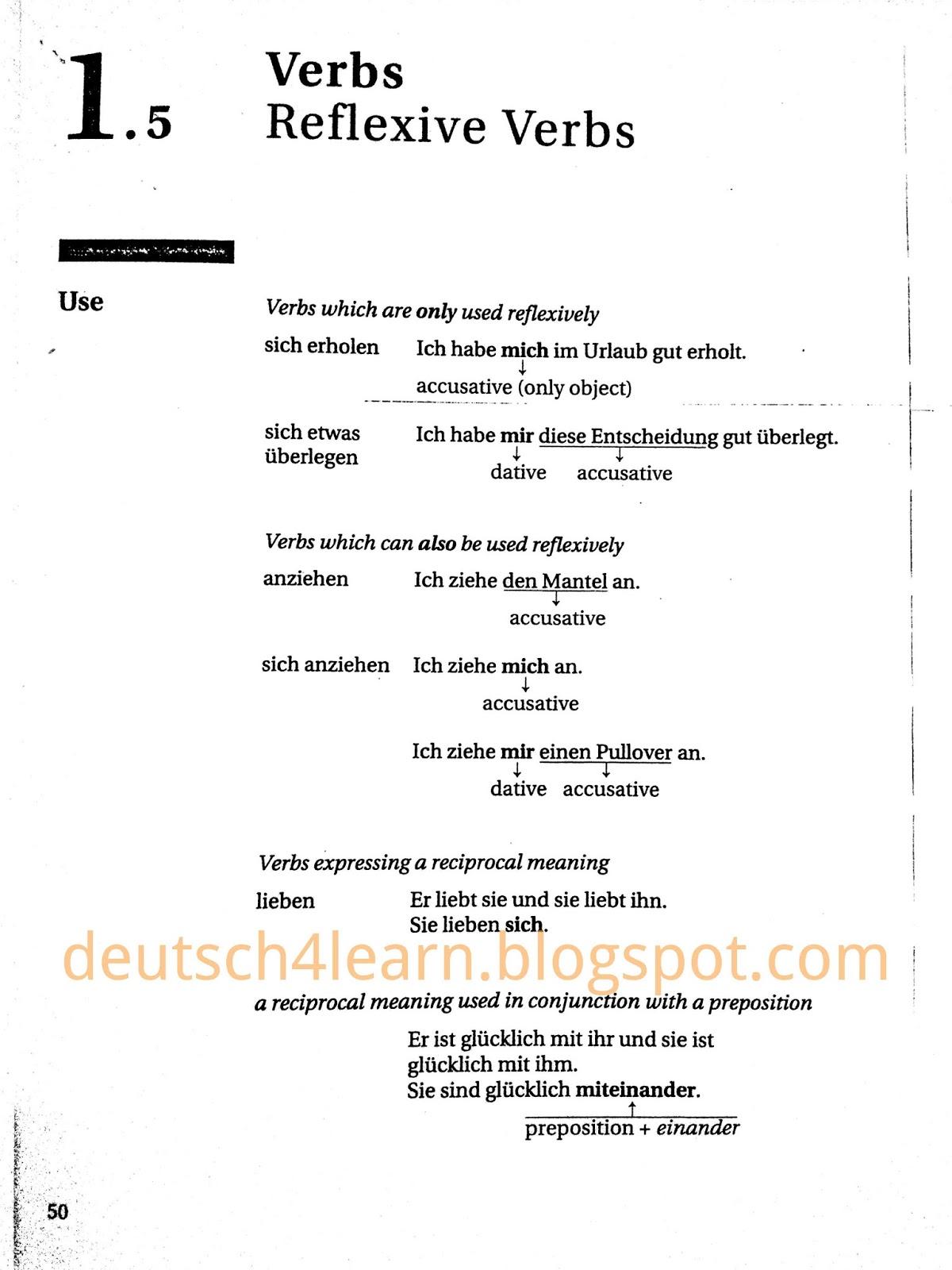 Reflexive Verbs In German Language