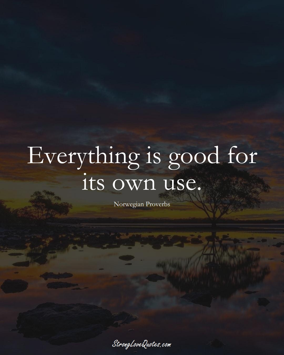 Everything is good for its own use. (Norwegian Sayings);  #EuropeanSayings