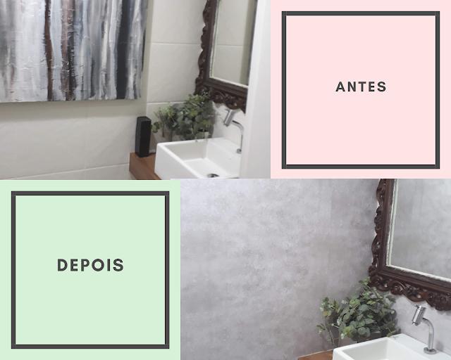 lavabo era todo azulejado, a solução prática, rápida e economia que eu encontrei para renovar a decoração e moderniza-lo foi aplicar papel de parede adesivo sobre os azulejos.