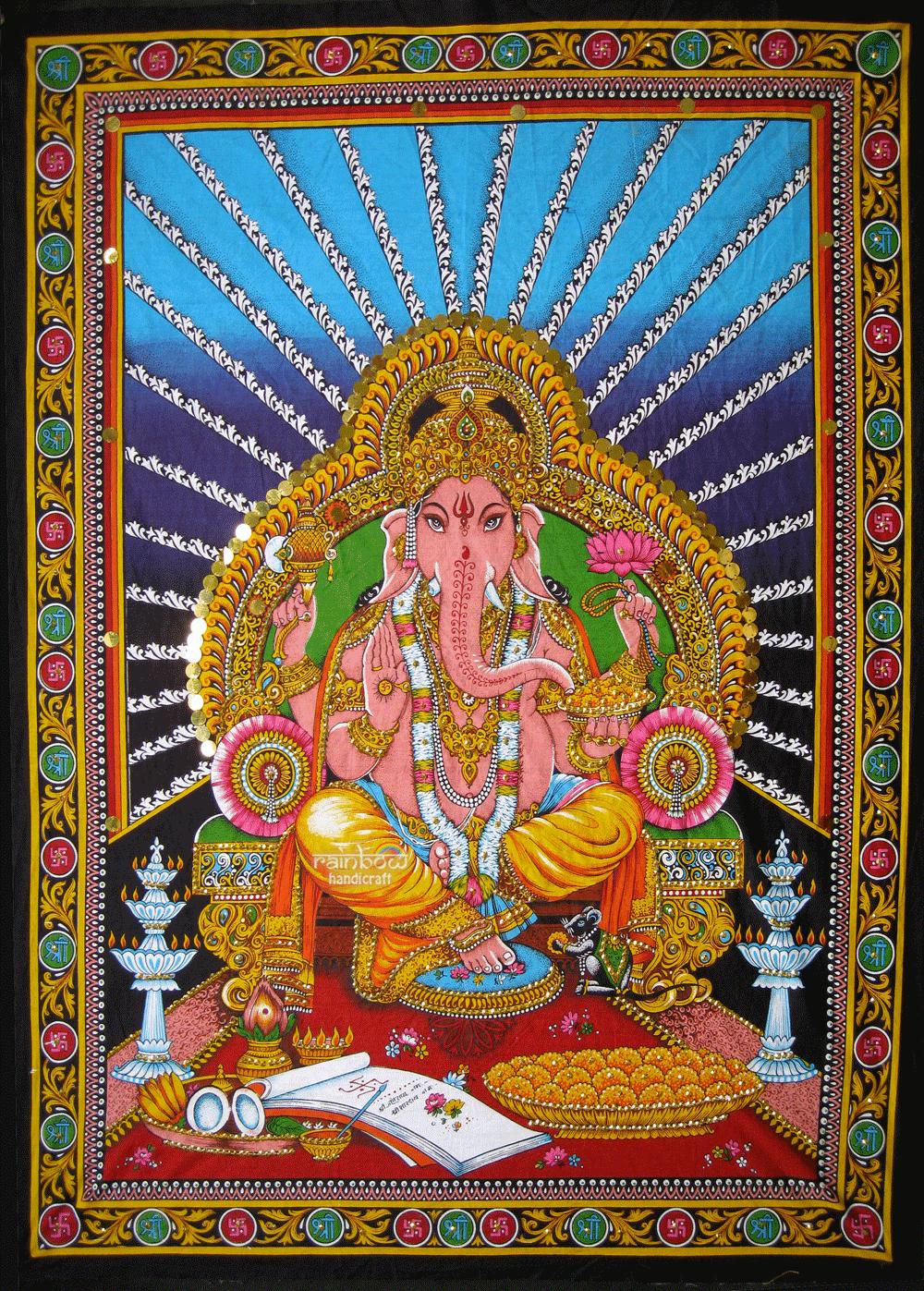Rainbow Handicraft Ganesh Ganesha Sequin Wall Hanging