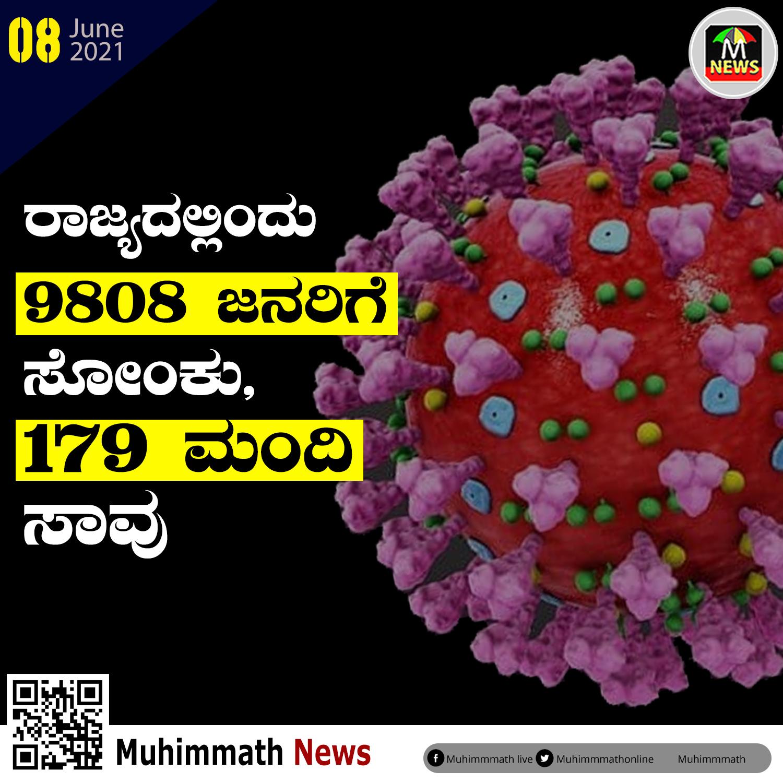 ರಾಜ್ಯದಲ್ಲಿಂದು 9808 ಜನರಿಗೆ ಸೋಂಕು, 179 ಮಂದಿ ಸಾವು
