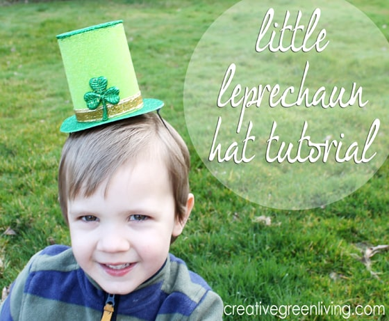 little leprechuan hat tutorial graphic showing off St Patrick's Day kids craft hat