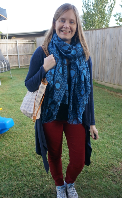 layred winter burgundy jeans and tee outfit neverfull heart print scarf waterfall cardigan | awayfromblue