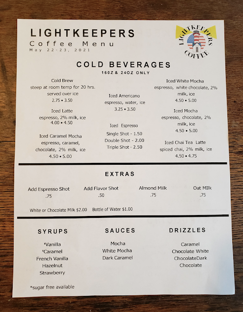 cold coffee and tea drinks menu at Grafton Illinois coffee antiques shop Lightkeepers Coffee 101 E Main St Sears Vallonia