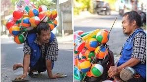 Demi Nafkahi Keluarganya, Pak Setu Rela Merangkak dengan Tangan Sambil Berjualan Balon Sejauh 45 Km