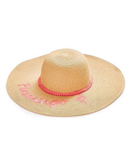 Women's fashion trends - straw hat with flamingo writing and pink trim
