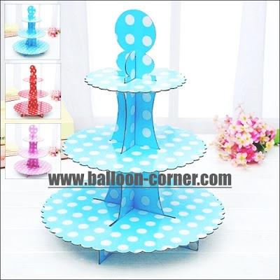 Cake Stand 3 Susun Motif Polkadot (BARU)