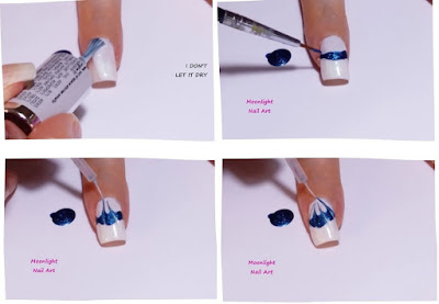 Blue & White Drag marble Nail Art Design