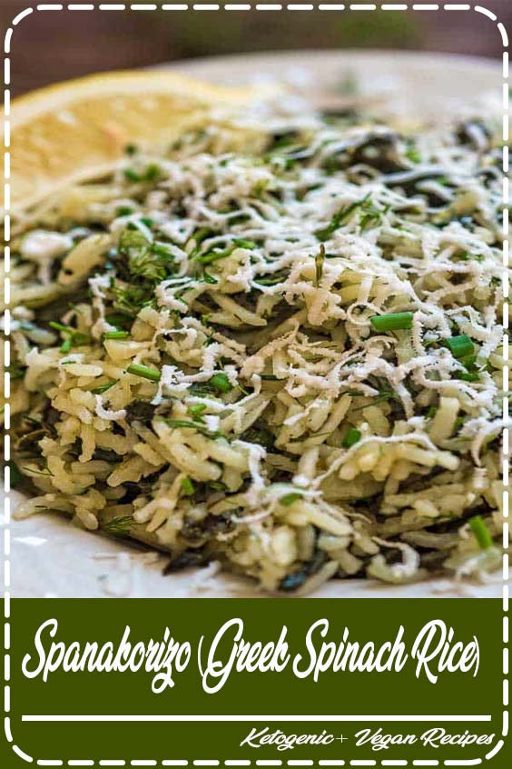makes a filling vegetarian meal or side dish Spanakorizo (Greek Spinach Rice)