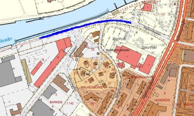 Karta över Södra hamnen med den aktuella gatusträckan markerad.