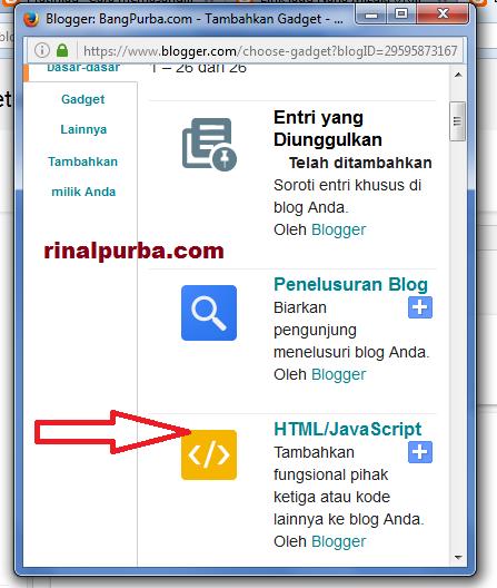 Memilih widget Html/javascript