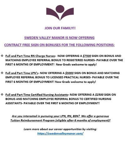 Sweden Valley Manor Offering Sign On Bonuses