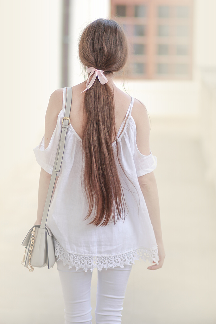 total white look, off the shoulder, cold shoulder, zaful, ponny tail